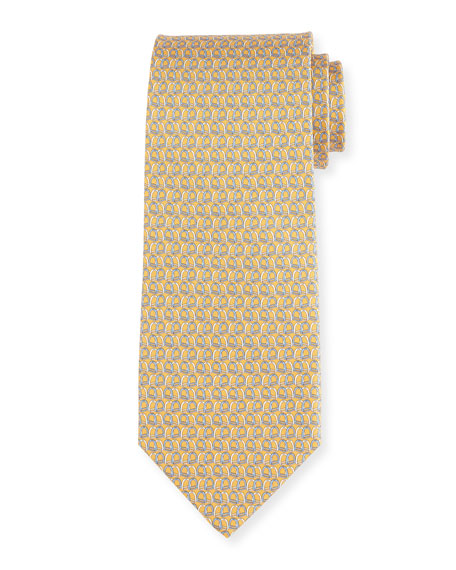 Printed Silk Twill Tie, Yellow