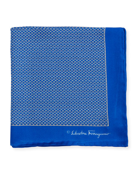 Salvatore Ferragamo Party Gancini-Print Pocket Square, Blue