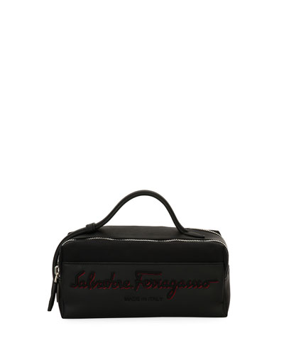 Logo-Embroidered Toiletry Travel Case, Black