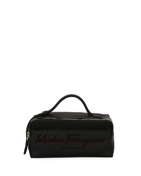 Salvatore Ferragamo Logo-Embroidered Toiletry Travel Case, Black