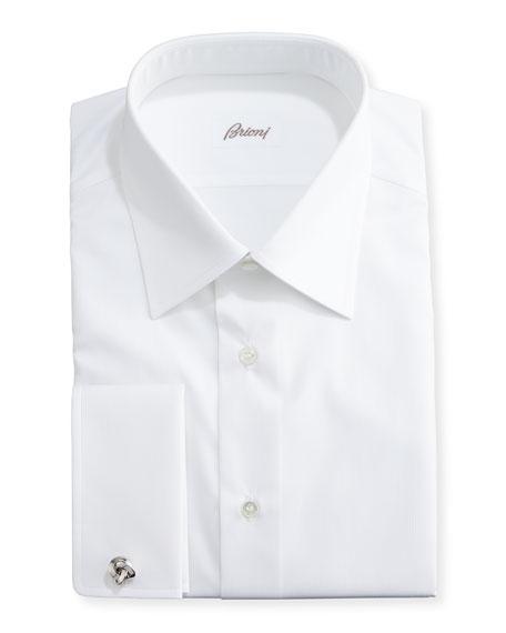 Tonal Micro-Stripe Dress Shirt, White