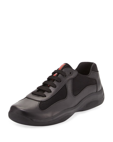 Prada America's Cup Leather & Textile Trainer Sneaker,