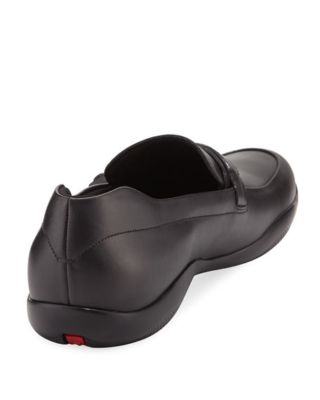 Leather Seat-Belt Loafer, Black
