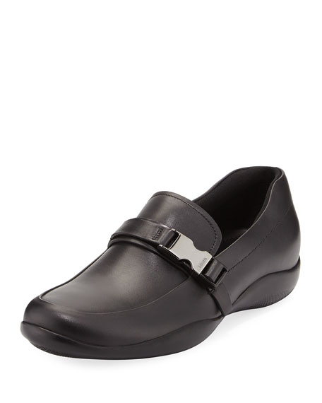 Prada Leather Seat-Belt Loafer, Black