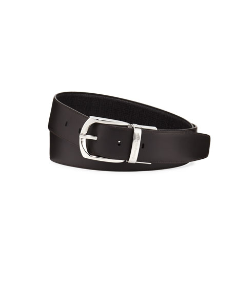 Reversible Embossed Calf Leather Belt