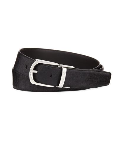 Reversible Embossed Calf Leather Belt