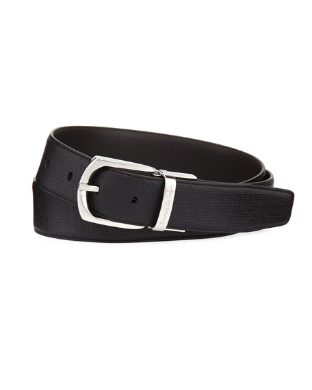 Ermenegildo Zegna Reversible Embossed Calf Leather Belt