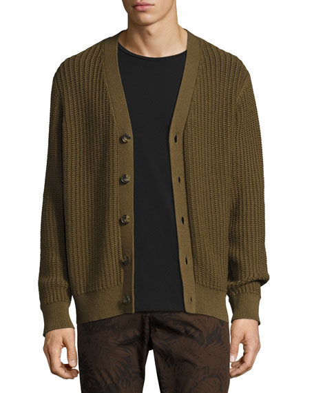 Vince Lattice-Stitch Cotton Cardigan, Brown