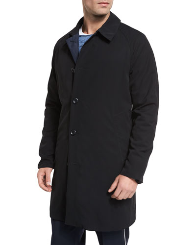 Water-Resistant Reversible Macintosh Coat, Black/Navy