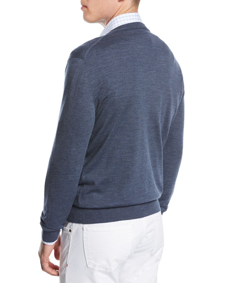 Merino Wool V-Neck Cardigan, Blue