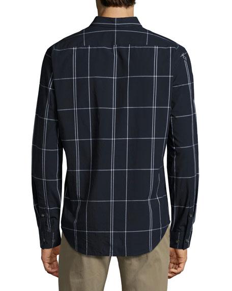 Zack Large Grid Sport Shirt, Navy