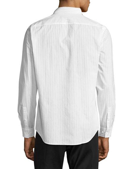 Zack Light Linen Striped Sport Shirt, Blue/White Pattern
