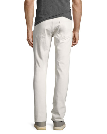Theory Raffi Plastered Stretch-Denim Slim-Fit Jeans, Off White