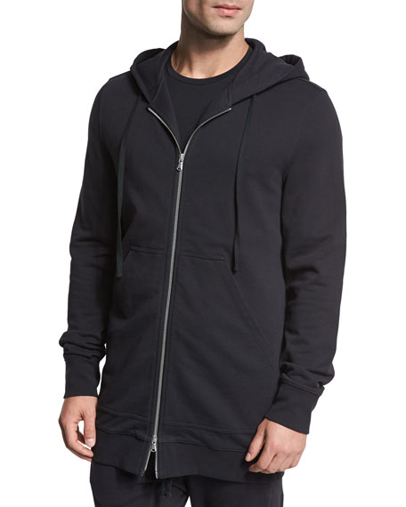 Terry Zip-Front Long Hoodie, Black