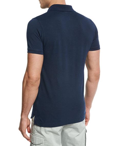 Short-Sleeve Snap-Placket Pique Polo Shirt, Navy