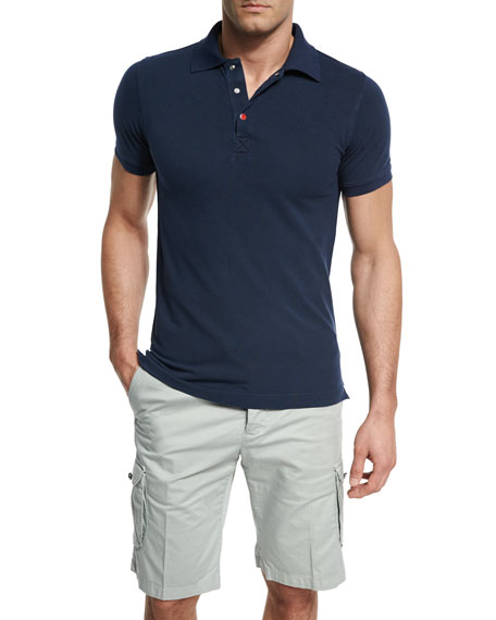 Kiton Short-Sleeve Snap-Placket Pique Polo Shirt, Navy