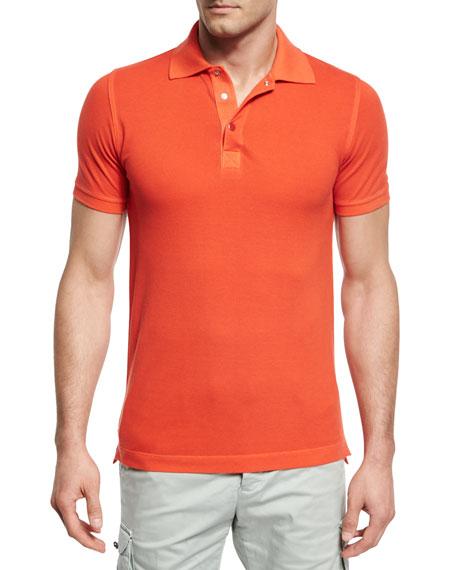 Kiton Piqué Snap-Front Polo Shirt, Coral