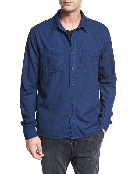 Two-Pocket Denim Shirt, Resin Rinse Blue