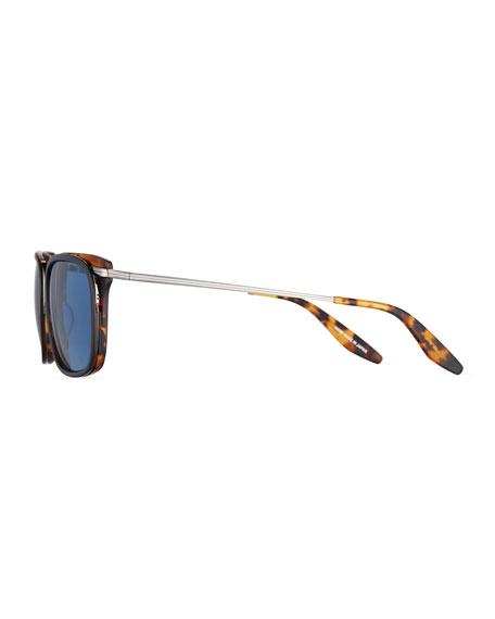 Prouvé Square Acetate Sunglasses, Matte Black/Amber Tortoise/Pewter/Cobalt