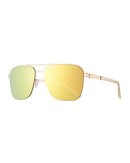 Men's Metal Mirrored Aviator Sunglasses, Matte Gold/Champagne/Amazon