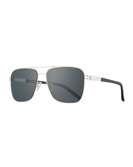 Barton Perreira Men's Metal Aviator Sunglasses, Matte