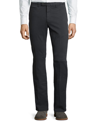 Flat-Front Stretch Cotton Trousers with Metal Gancio, Gray