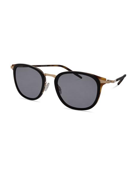 Barton Perreira B030 Polarized Square Sunglasses, Black