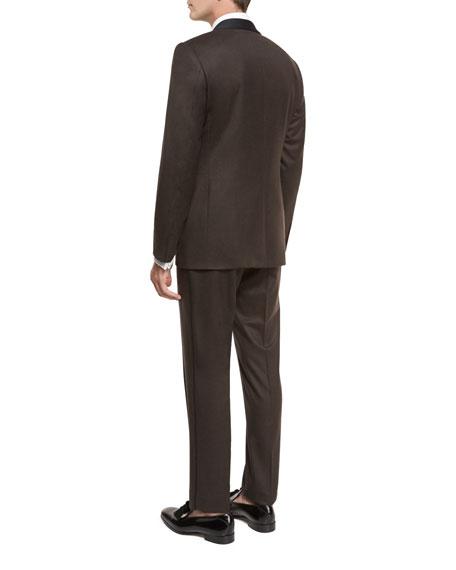 Flannel Satin-Collar Tuxedo Suit, Brown