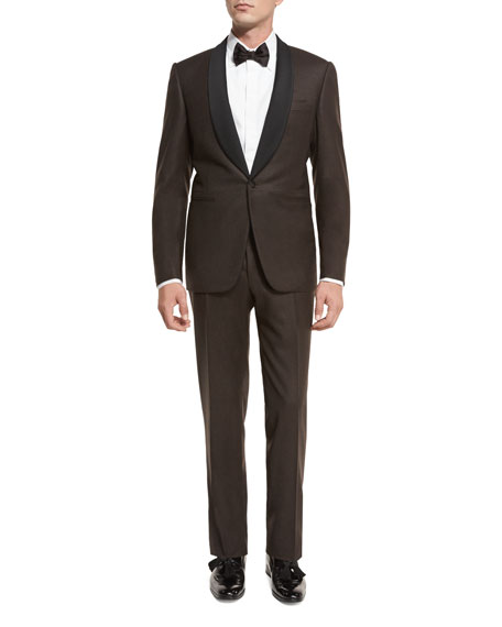 Canali Flannel Satin-Collar Tuxedo Suit, Brown