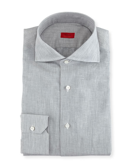 Isaia Solid Linen-Cotton Dress Shirt, Light Gray