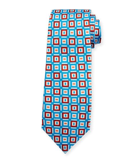 Kiton Diamond Geometric Print Tie, Blue/Red