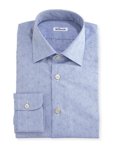 Diamond-Dobby Dress Shirt, Blue