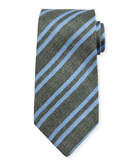 Kiton Chambray Striped Silk Tie, Charcoal