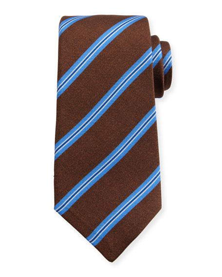 Kiton Wide Stripe Silk Tie, Brown/Blue