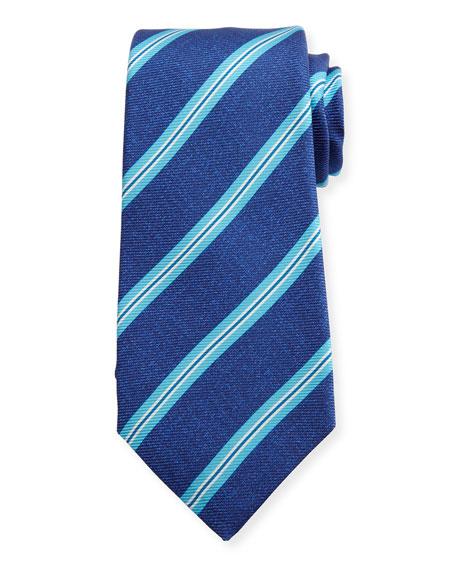 Wide-Stripe Silk Tie, Blue