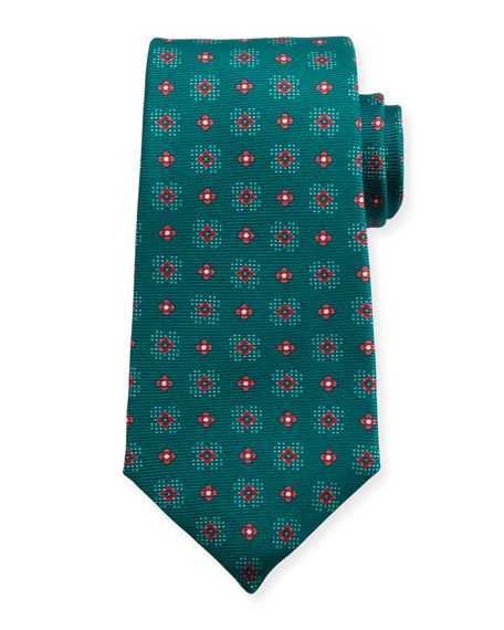 Kiton Flower Neat Silk Tie, Green