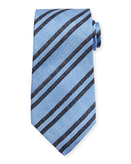 Chambray Striped Silk Tie, Light Blue