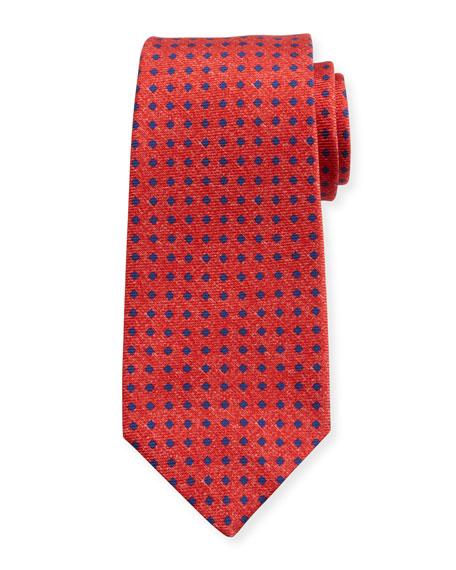 Kiton Square Dot Silk Tie, Red