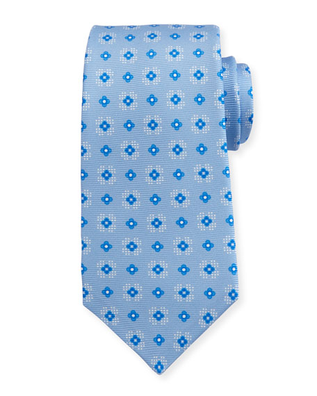 Kiton Flower Neat Silk Tie, Light Blue