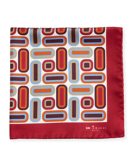 Kiton Rectangle & Square Printed Silk Pocket Square,
