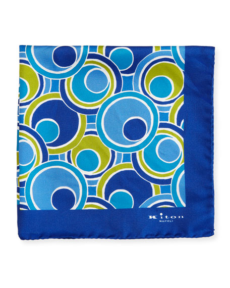 Kiton Retro Circle Printed Silk Pocket Square, Navy