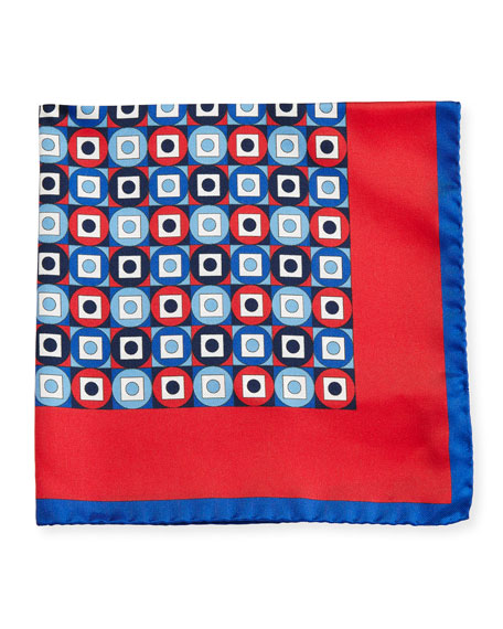 Kiton Geometric Printed Silk Pocket Square, Red