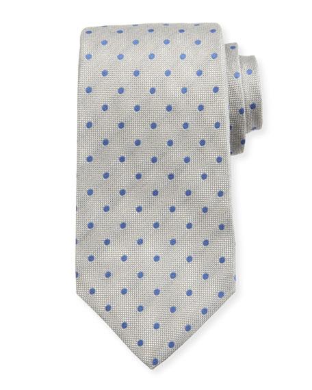 Woven Dot Silk Tie, Light Gray