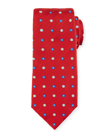 Kiton Flower Neat Silk Tie, Red
