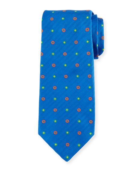 Kiton Flower Neat Silk Tie, Blue