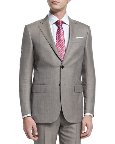 Micro-Tic Two-Piece Trofeo® Wool Suit, Tan