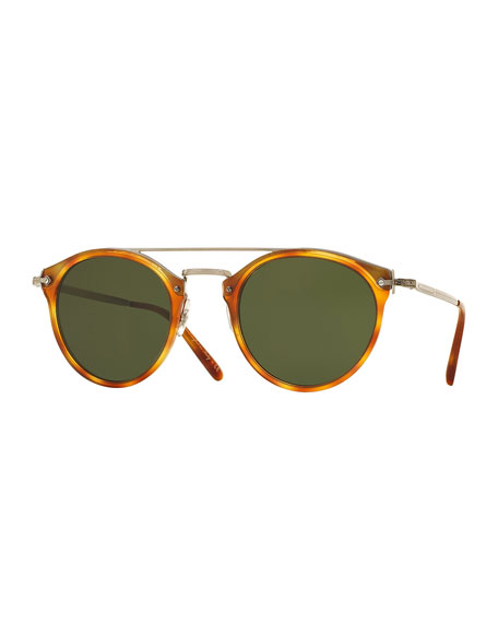 Oliver Peoples Remick Monochromatic Brow-Bar Sunglasses,