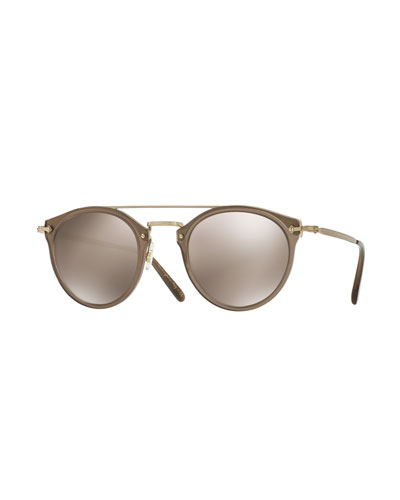 Men's Remick Mirrored Brow-Bar Sunglasses, Taupe