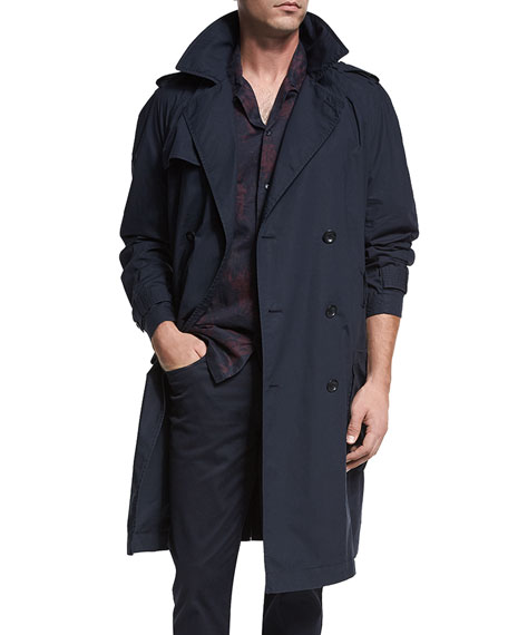Vince Classic Double-Breasted Trench Coat, Coastal Blue