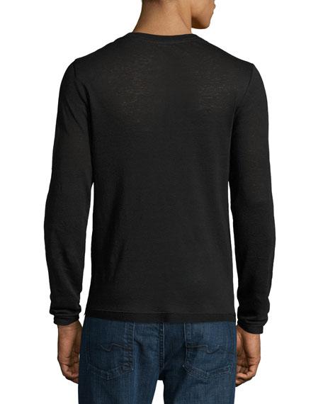 Sweater-Trim Long-Sleeve Crewneck T-Shirt, Black